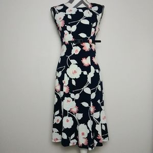 Shelby and Palmer navy blue floral midi dress S
